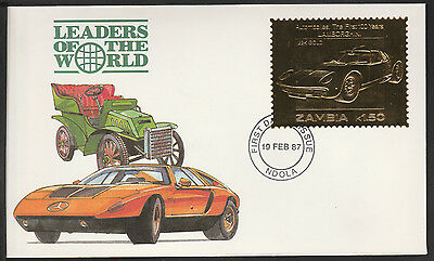 Zambia (388) 1987 Classic Cars - LAMBORGHINI in 22k gold foil on First day Cover