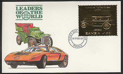 Zambia (391) 1987 Classic Cars - LANCIA in 22k gold foil on First day Cover