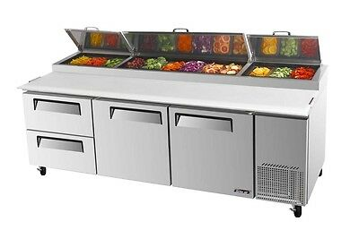 """Turbo Air 93"""" Pizza Prep Table 12 Pans 2 Cooler Drawers TPR-93SD-D2"""