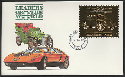 Zambia (395) 1987 Classic Cars - VOLKSWAGAN in 22k gold foil on First day Cover