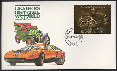 Zambia (399) 1987 Classic Cars - MG in 22k gold foil on First day Cover