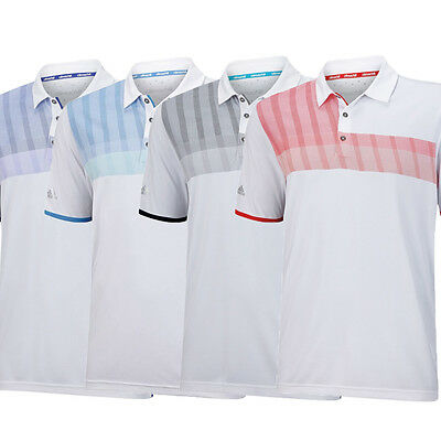 New Adidas Golf Climachill S/S Chest Stripe Polo Shirt - Select Size