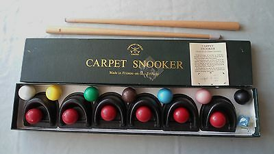 "TOWNSEND CARPET SNOOKER COMPLETE SET BOXED 2x CUES CHALK BALLS 6x ""POCKETS"""