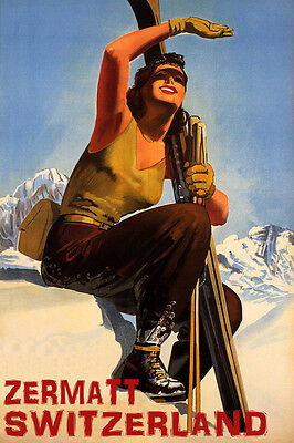 Zermatt Switzerland Ski Mountains Sunny Day Winter Sport Vintage Poster Repro
