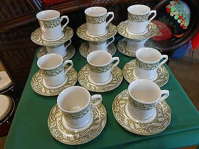 """English Ironstone STERLING """"Renaissance"""" J&G Meakin Set of 11 CUPS & SAUCERS"""