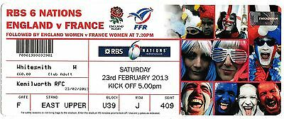 ENGLAND v FRANCE RBS 6 NATIONS RUGBY UNION TICKET FEB 2013 TWICKENHAM