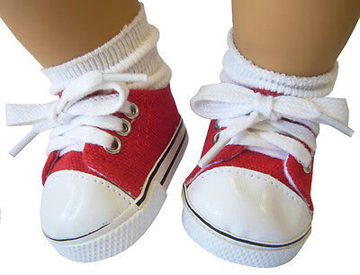 For Bitty Baby Doll Clothes Valentine's Day Red Sneakers Canvas Shoes