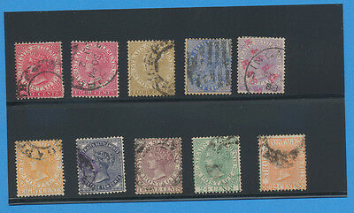 STRAITS SETTLEMENTS - Sc 42//56 SG 51//70 1882-1899 very nice lot of ten used