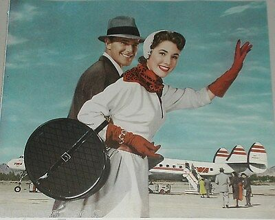 1953 Trans World Airlines advertisement, TWA, Lockheed Constellation, airport