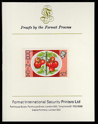 Dominica (402) 1975 Tomatoes 50c imperf on Format International PROOF  CARD