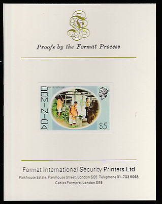 Dominica (414) 1975 Bay Oil $5 imperf  on Format International PROOF  CARD