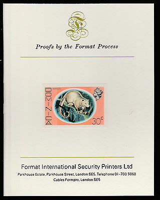 Dominica (415) 1975 Opossum 30c imperf  on Format International PROOF  CARD