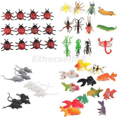 Lot 48pcs Plastic Vivid Insect/Beetle/Mouse/Goldfish Model Figure Kids Toys