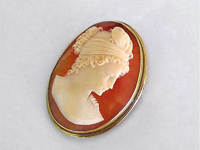 1900 Estate 10K Solid Gold 12.6 Grams Lg Cameo Brooch Pendant