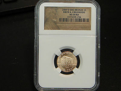 2009-D Lincoln Cent Birth Childhood Log Cabin NGC MS 68 RD RED SMS BRONZE
