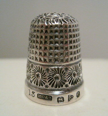 Fancy HENRY GRIFFITH #13 Antique STERLING SILVER THIMBLE Hallmarked CHESTER 1897