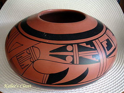Large Vintage Signed Hopi Redware Clay Bowl