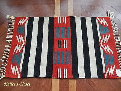 """EXCELLENT Authentic Mexican Zapotec 100% Virgin Wool Rug - 38.5"""" x 23.5"""""""