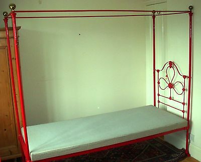 Pair Vintage Red Four Poster Convent Beds