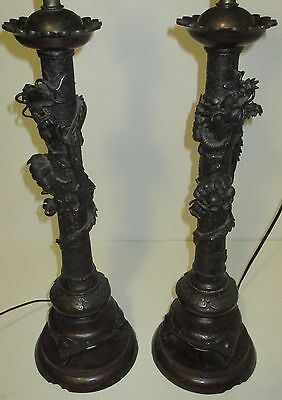 Pair Antique Japanese Bronze Lamps with Dragons and Chrysanthemums