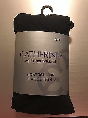 Plus Size Women's, 3X 4X Black Opaque Control Top Footed Tights, Catherines