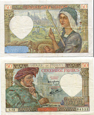 France 50 Francs 24-4-1941 P 93 Circulated