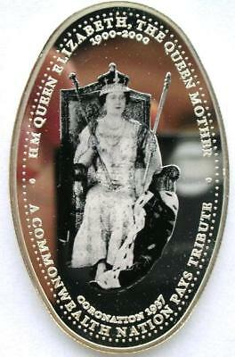 Zambia 2000 Queen Mother 2000 Kwach Ellipse Silver Coin,Proof