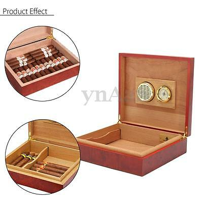 Brown Cedar Wood Wooden Lined Cigar Humidor Humidifier With Hygrometer Case Box
