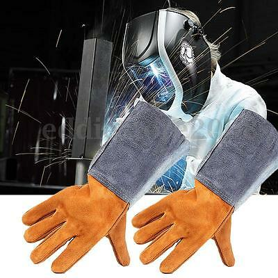 Long Leather Welding Finger Gloves Heat Shield Cover Protective Safety Wear
