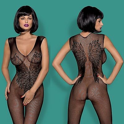 Neu OBSESSIVE Bodystocking Spitze Negligee Obsessive Catsuit schwarz HIT ! N112
