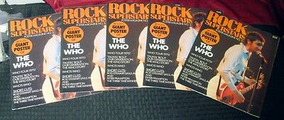 "1975 Penthouse Rock Superstars Poster Magazine The Who 22X36"" Lot (5) Mint Wh14"