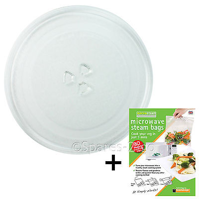 """Microwave Glass TURNTABLE PLATE 245mm 24.5cm 9.5"""" 3 Lug Dish + Quick Steam Bags"""