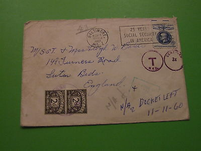 Baltimore Usa Cover To England With Postage Due Stamps 1960 . See Post Offer