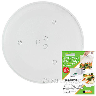 """Microwave Glass TURNTABLE PLATE 270mm 27cm 10.6"""" 3 Lug Dish + Quick Steam Bags"""