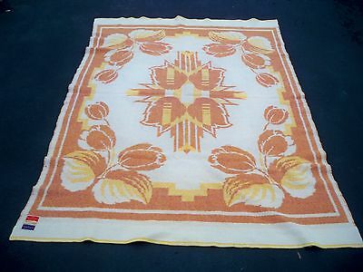 """Vintage Crown Royal Made in Holland 100% Wool Tulip Thick Cabin Blanket 58 X 80"""""""