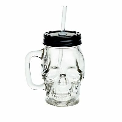 Alchemy Gothic Anatomical Skull Clear Glass Drinking Mason Jar with Straw Gift