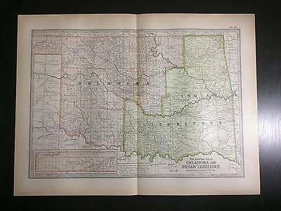 1897 Map of Oklahoma and INDIAN Territory With Cherokee Nation & Creek Nation