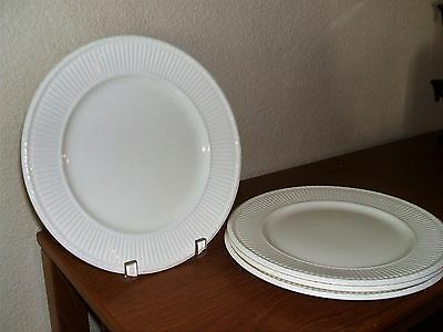 "Wedgwood Edme 10.25"" Dinner Plates 4Pc England Plate Green Mark Eturia Ribbed"