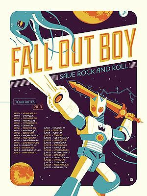 """Fall Out Boy """"save Rock & Roll North American Tour 2013"""" Concert Poster"""