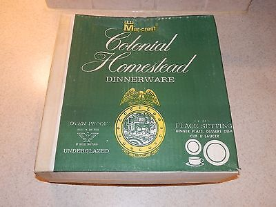 Mar Crest Royal China Colonial Homestead 4 Piece Setting Boxed New Old Stock