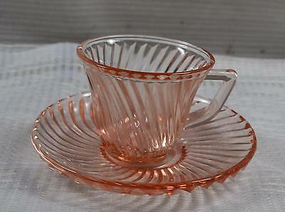 Diana Pink Demitasse Cup And Saucer, Very Rare, C. 1937-1941, Federal Glass Co.