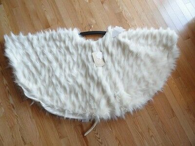 "Nicole Miller Faux Fur Tree Skirt 52"" Christmas Shaggy Faux Fur Off White NWT"