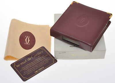 Cartier original cigarette case, burgundy leather, new old stock in box