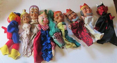 Mixed lot of 9 vintage rubber head hand PUPPET toys including the DEVIL