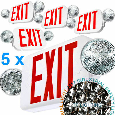 5x LED Exit Sign & Emergency Light – High Output - RED Compact Combo Set UL924
