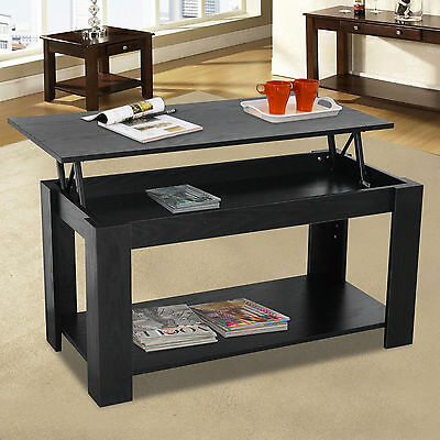 Lift Up Top Coffee Table With Storage&Shelf Modern Living Room Furniture Black