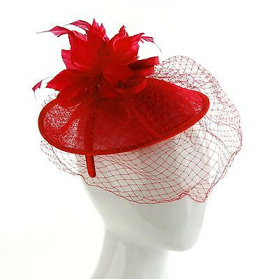 Derby Veil Feathers Disc Headband Fascinator Millinery Cocktail Hat Red