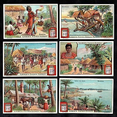 Life In Samoa Vintage Liebig Card Set 1902 Pacific Upolu Apia Harbour Tribes Hut