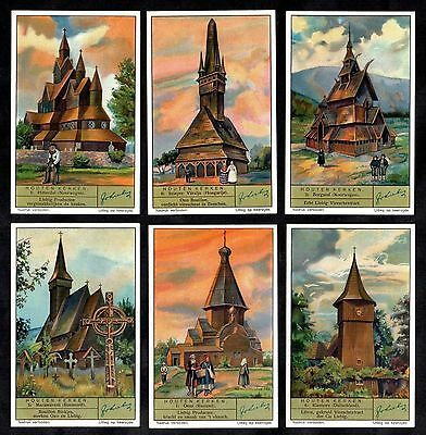 Wooden Churches Cards Set Liebig 1936 Norway Russia Germany Roumania Hungary