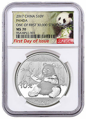 2017 China Silver Panda NGC MS70 FDI Exclusive First 30k Struck Label SKU44885